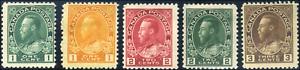 Canada-104-108-mint-F-OG-HR-1911-1922-King-George-V-Admiral-Part-Set-CV-50-00