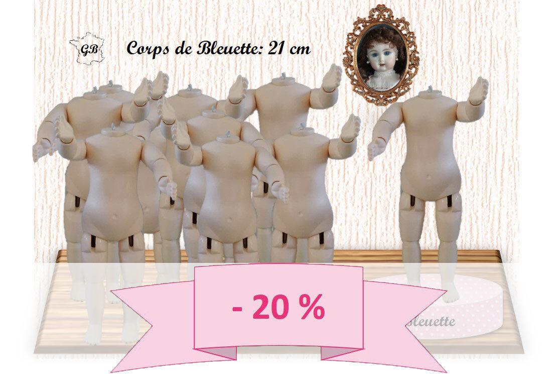 PROMO 20% - Los 10 Körper Größe BLEUETTE für Puppe antik Höhe 21cm