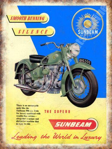 Motorcycles Motorbike 128 Vintage Garage Sunbeam Adverts Small Metal Tin Sign