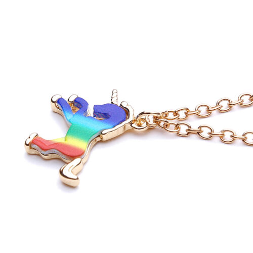 Unicorn Pendant Horse Charm Gold Necklace Chain Women Kids Girls Jewelry DS
