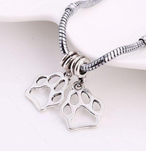Free 10Pcs Tibetan Silver Paw Print Charms Pendentif Dangle Beads Pour Bracelet