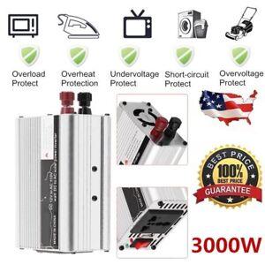Solar Power Inverter 3000W Peak 12V DC To 110V AC Modified Wave Converter O8