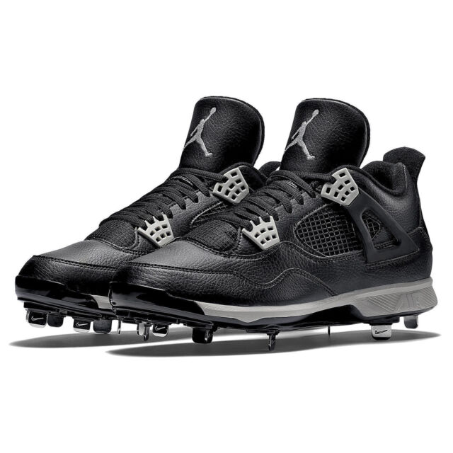 online store 411e4 eda22 NIKE AIR JORDAN 4 RETRO IV METAL BASEBALL CLEATS SIZE 12 BLACK GREY  807710-010