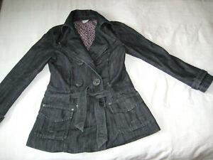 Detalles de Trf by zara jeans Trench coat chaqueta abrigo azul oscuro talla L 36 38 ver título original