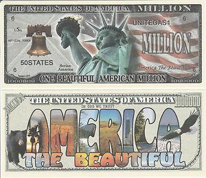 Liberty Dream Big Million Dollar Bill Fake Funny Money Novelty Note FREE SLEEVE