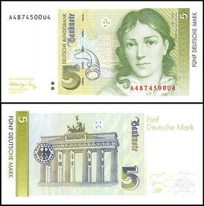 Image Is Loading Germany 5 Deutsche Mark Banknote 1991 P 37