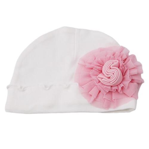 Baby Newborn Girls Infant Toddler Big Flower Soft Hospital Cap Beanie Hat YI