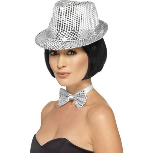 Women/'s Silver Sequin Trilby Hat Fancy Dress Dance Show Gangster Hen Party Fun