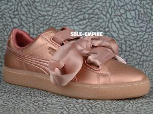Puma-Basket-Heart-DE-Women-039-s-365463-01-Copper-Rose-Pink-Classic-Bow