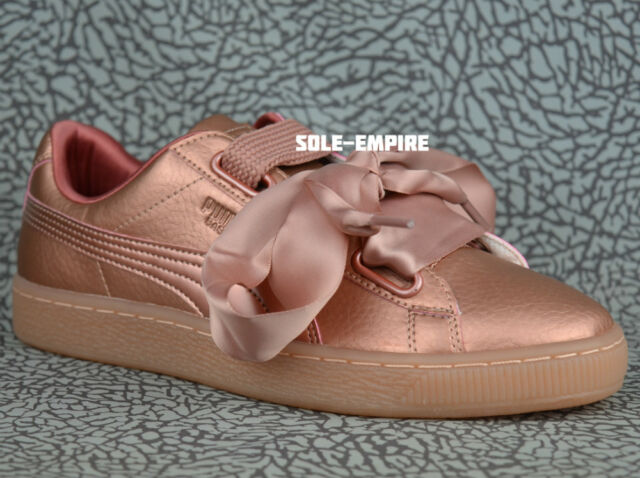 pretty nice 37e07 41407 Puma Basket Heart DE Women's 365463-01 Copper Rose Pink Classic Bow
