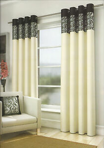 Image Is Loading Ring Top Eyelet Curtains Skye Black Amp Cream