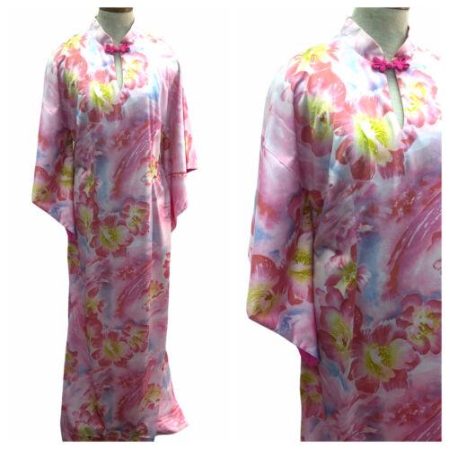 Vintage VTG 1970s 70s Pink Floral Pake Muu Caftan