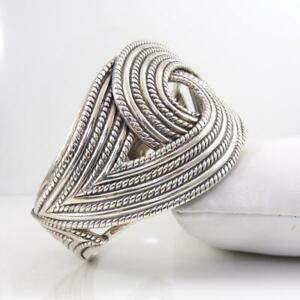Vtg-Danecraft-Sterling-Silver-Wide-Knot-Modernist-Cuff-Bracelet-LHA4