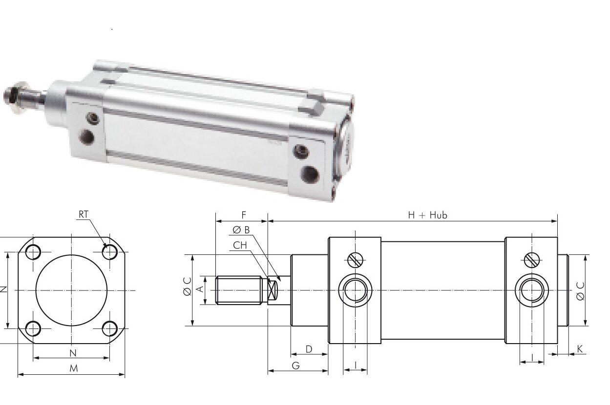Cilindro Neumático ISO 15552 diámetro del del del pistón 32 bis 100 mm AIRE COMPRIMIDO 8e7bd1