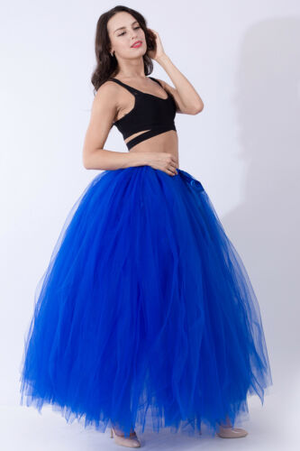 Women Layers Long Tulle Tutu Skirt Wedding Skirts Petticoat Prom Party Ball Gown