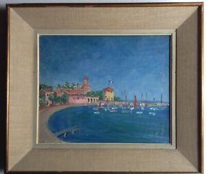Antique-Oil-Impressionist-Painting-French-Seascape-Harbor-DUFY