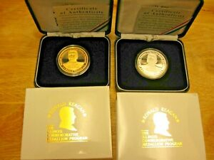 President-Reagan-Illinois-1-Troy-Ounce-999-Silver-Proof-Rounds-24K-Set-of-2