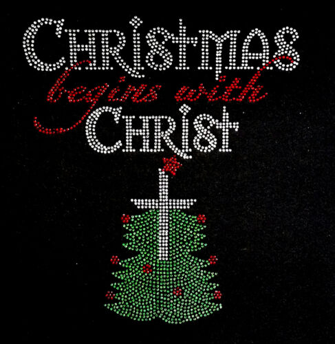 "HOTFIX RHINESTONES Christmas Heat transfer /""christmas begins with christ/"""
