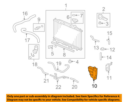 HONDA OEM Accord-Radiator Coolant Overflow Tank Recovery Bottle 19101R40A00