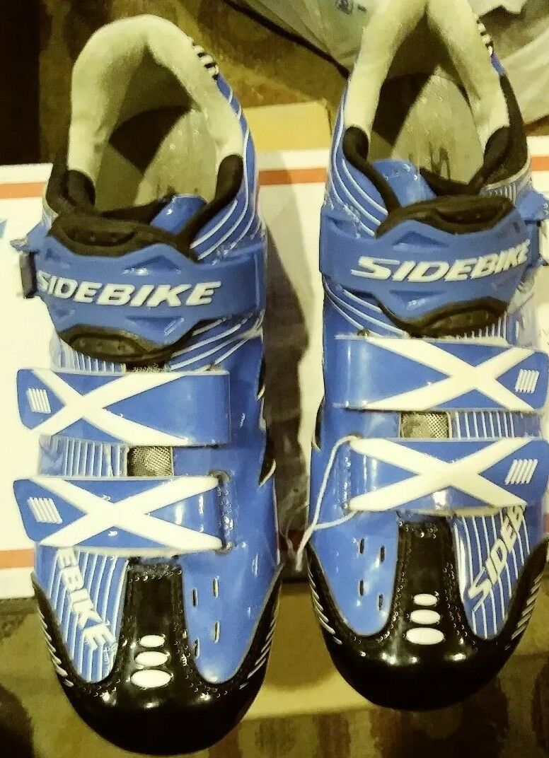 SIDEBIKE Men's Mountain Bike Cycling shoes Sneakers Pedals&Cleats Sz 41 bluee