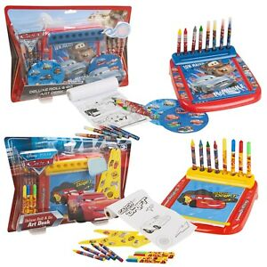 Disney-Kids-12pc-Roll-amp-Go-Art-Set-Crayons-Markers-Colouring-Sheets-Drawing