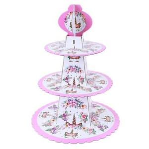 Image Is Loading Kids 3 Tier Cupcake Cake Stand Unicorn Children