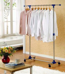 Garderobenstaender-Kleiderstaender-Kleiderstange-Rollenstaender-Breite-87-150-cm