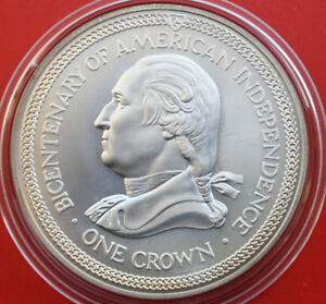 Isle-of-Man-1-Crown-1976-Silber-American-Independence-F-1647-ST-BU-KM-37-a