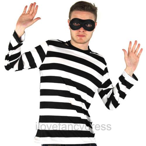 ANTIFURTO Per Adulti Costume Da Rapinatore Costume Stripe Top e maschera occhi LADRO Detenuto