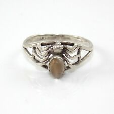 Vintage Sterling Silver Moonstone Spider Goth Modernist Ring Size 7.75