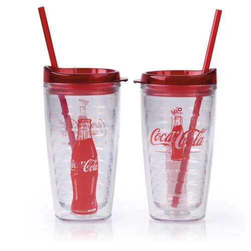 COCA COLA COKE 100 Yrs Durable 16oz Double Wall Plastic Tumbler Glass Cup Straw