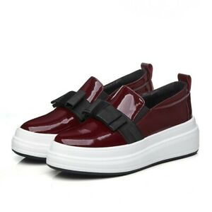Occident-women-039-s-sexy-collegiate-bowknot-shoes-Spring-solid-color-patent-leather