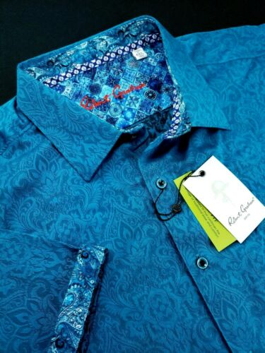Robert Graham Medallion Paisley Print Short Sleeve Shirt Floral Cuffs 4XL