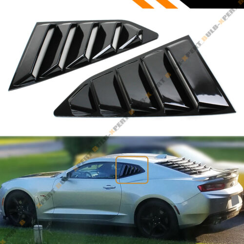 For 16-18 Chevy Camaro LT RS SS Gloss Blk 1//4 Quarter Window Louver Cover Vents