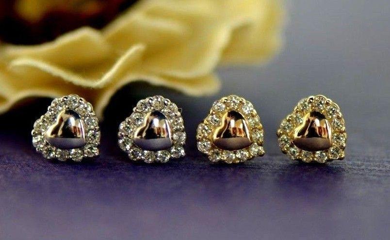 14K Yellow gold White gold Heart Shape CZ Earrings