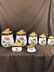 Sears-Roebuck-and-Co-Merry-Mushroom-Canister-Set-and-Cookie-Jar-12-pieces