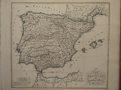 1846 Spruner Antique Historical Map ~ Kingdom Of Visigoths Iberia Spain 477-711 Europe Maps