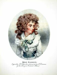 Original-Old-Antique-Print-Miss-Farren-Drawing-Donnmann-Engraved-Collyer-1904