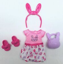 Barbie Chelsea Kelly Doll Clothes Easter outfit Shoes Bunny Basket headband NEW