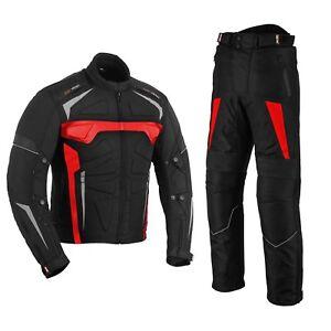 Motorradbekleidung-Cordura-Motorrad-Jacke-Hose-Motorradanzug-Motorradjacke-ROT