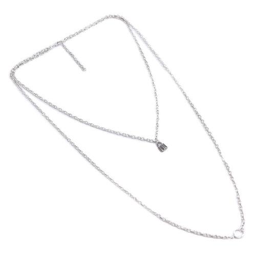 Unisex Punk de bloqueo de doble capa de Plata Cadena Colgante Collar Gargantilla Joyería giftz