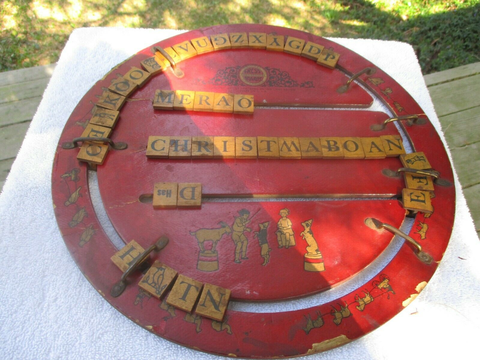 1912 Cress Education Board with wood letters, spelling graphics,