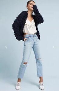 NEW-Anthropologie-Larissa-Fringed-Looped-Cardigan-Sweater-Size-Medium-Navy-Blue
