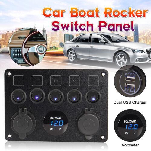 Car Boat 5 Gang ON-OFF Toggle Switch Panel 2USB 12V Fit Marine RV Truck Camper G