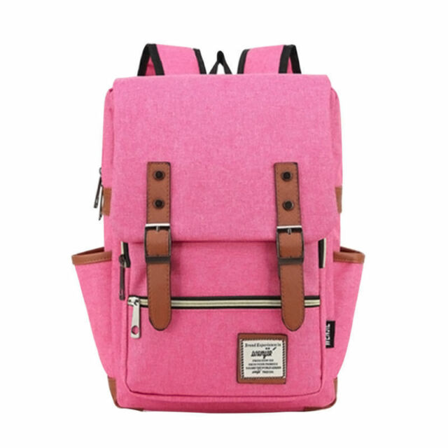 US Women Mens Canvas Backpack School Laptop