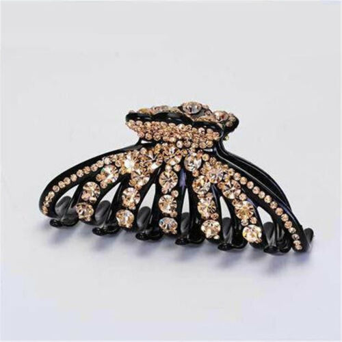 Women Lady Elegant Rhinestone Large Size Acrylic Hair Claw Clip Hair Accessories