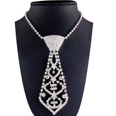 SA European Vintage Jewelry Tie Shape Crystal Rhinestone Necklace