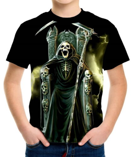 Grim Reaper Laughing Boys Kid Youth T-Shirts Tee Age 3-13 ael40176