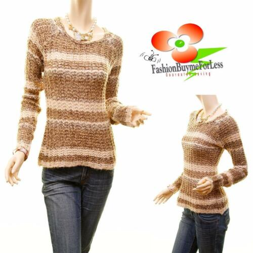 Urban Pin Up Vintage Stripe Tweed Cable Texture Knit Fitted Sweater Top S M L XL