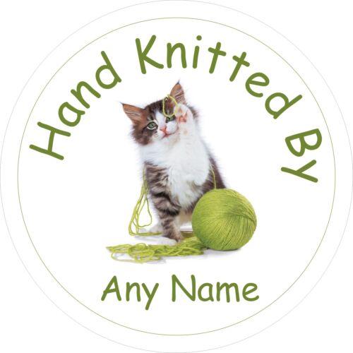 40 tejido a mano Por Pegatinas de Gato Personalizado Etiqueta Tienda Feria de Artesanía puesto de mercado
